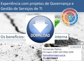 Capa da apresentação sobre governança de TI
